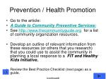 prevention health promotion