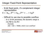 integer fixed point representation