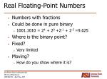 real floating point numbers