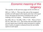 economic meaning of this tangency