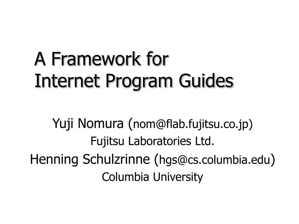a framework for internet program guides l.