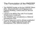 the formulation of the pasdep