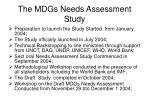 the mdgs needs assessment study