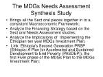 the mdgs needs assessment synthesis study