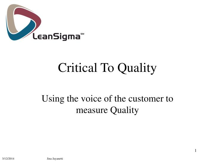 critical to quality n.