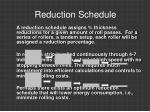 reduction schedule