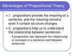 advantages of propositional theory
