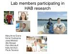 lab members participating in hab research