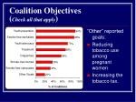 coalition objectives check all that apply