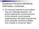 suspicious personal identifying information continued15