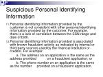 suspicious personal identifying information11