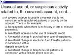 unusual use of or suspicious activity related to the covered account cont