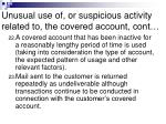 unusual use of or suspicious activity related to the covered account cont19