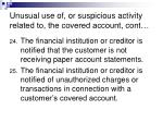 unusual use of or suspicious activity related to the covered account cont20