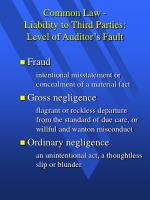 common law liability to third parties level of auditor s fault