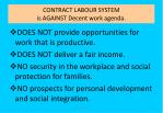 contract labour system is against decent work agenda