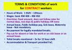 terms conditions of work for contract workers