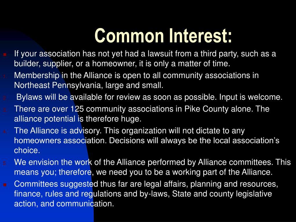 Common Interest: