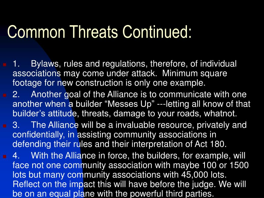 Common Threats Continued: