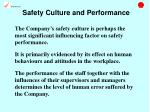 safety culture and performance
