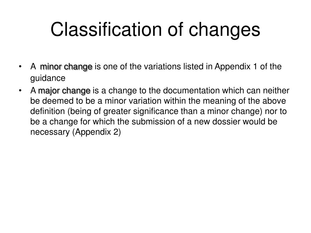 Classification of changes