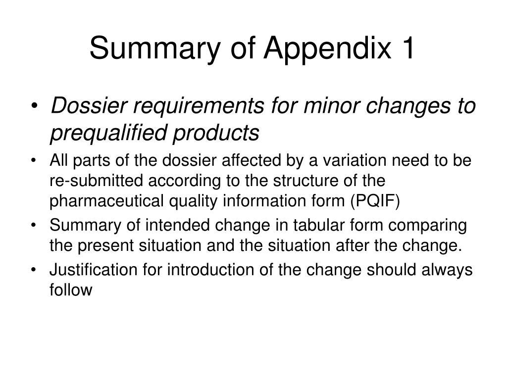 Summary of Appendix 1