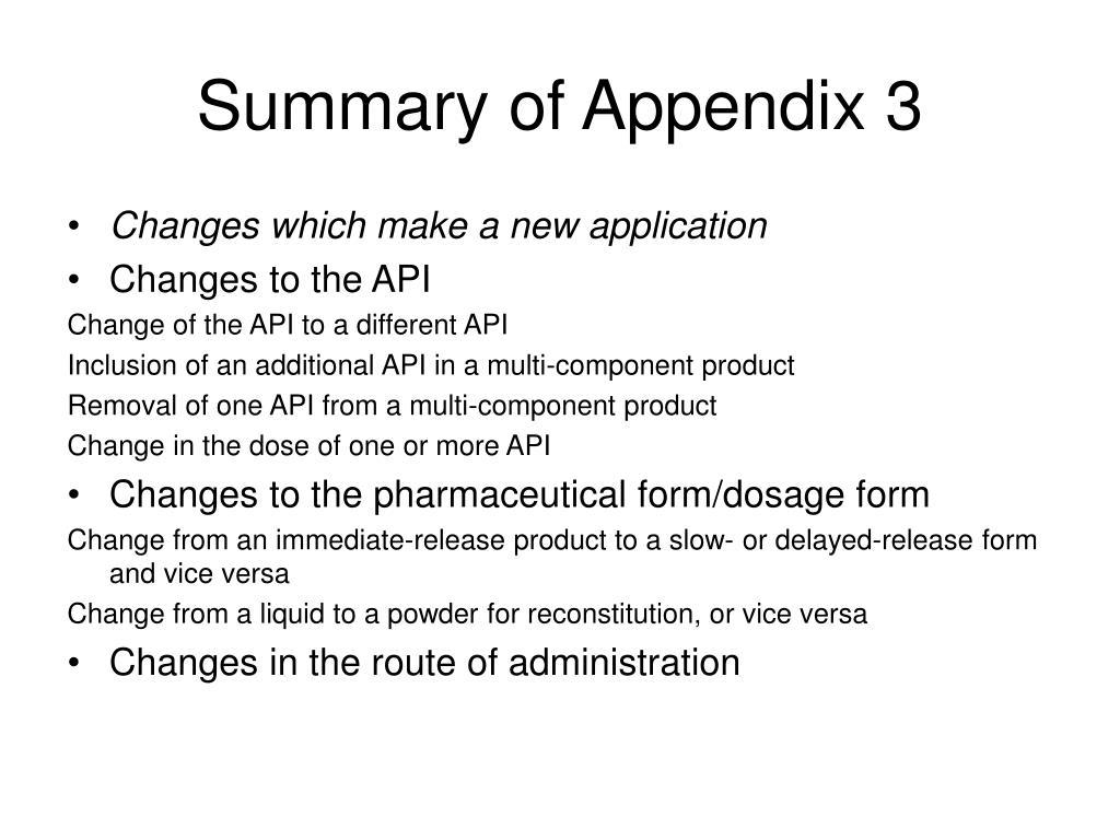 Summary of Appendix 3