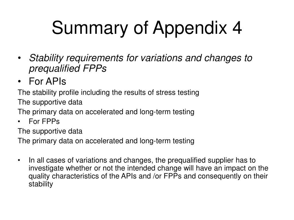 Summary of Appendix 4