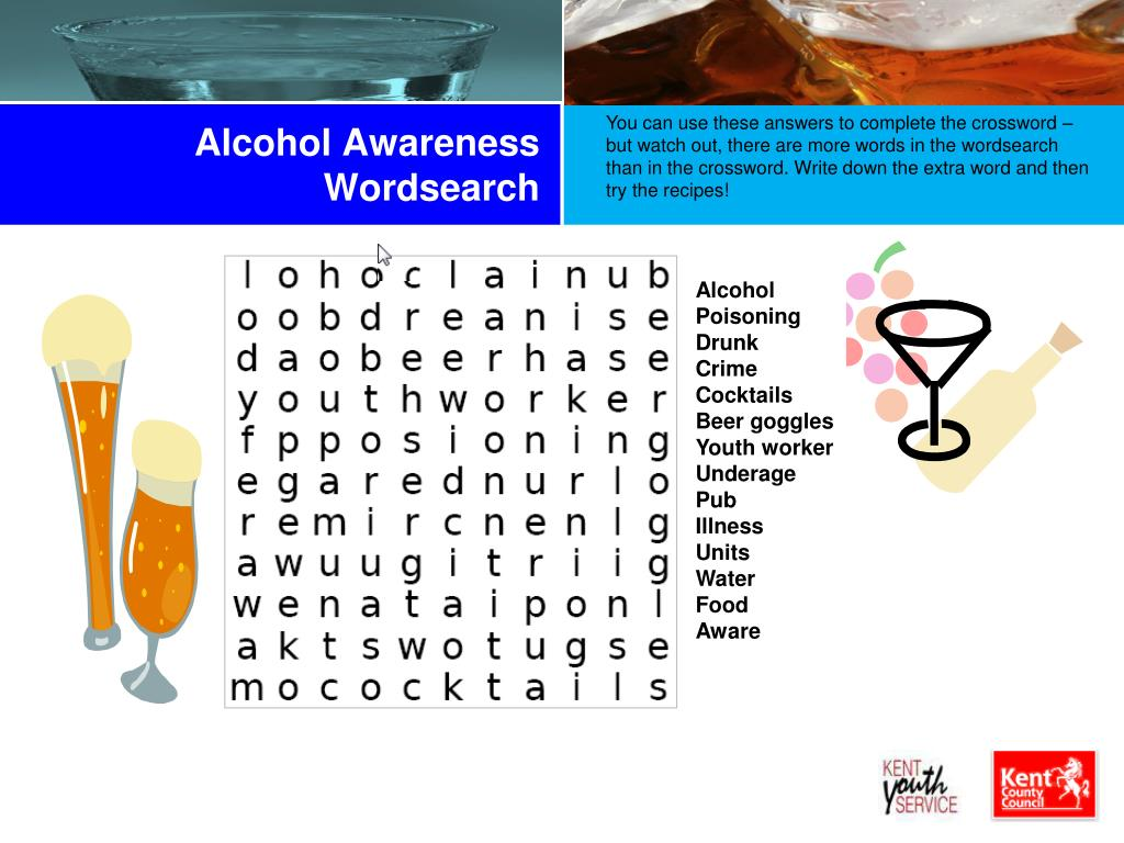 Alcohol Awareness Wordsearch