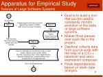 apparatus for empirical study science of large software systems