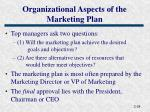 organizational aspects of the marketing plan
