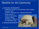 benefits for the community