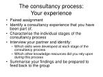 the consultancy process your experience