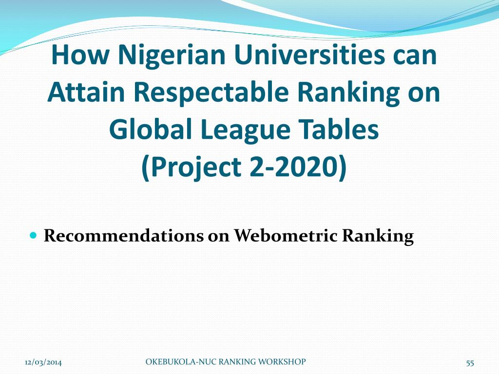 How Nigerian Universities can Attain Respectable Ranking on Global League Tables