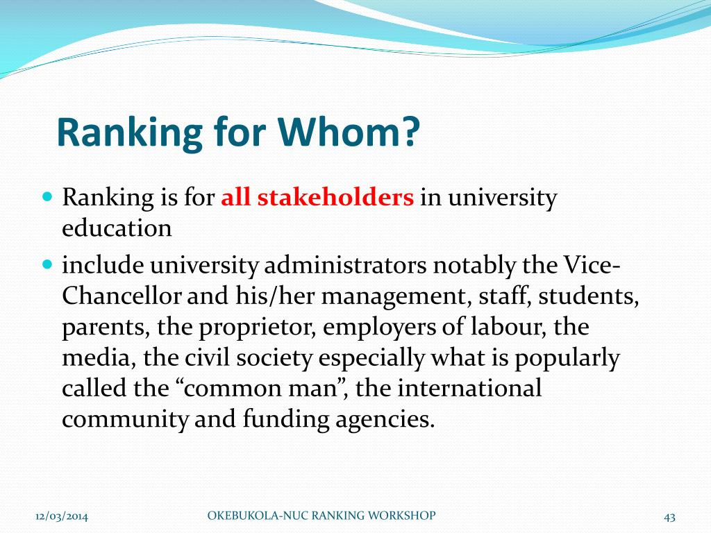 Ranking for Whom?