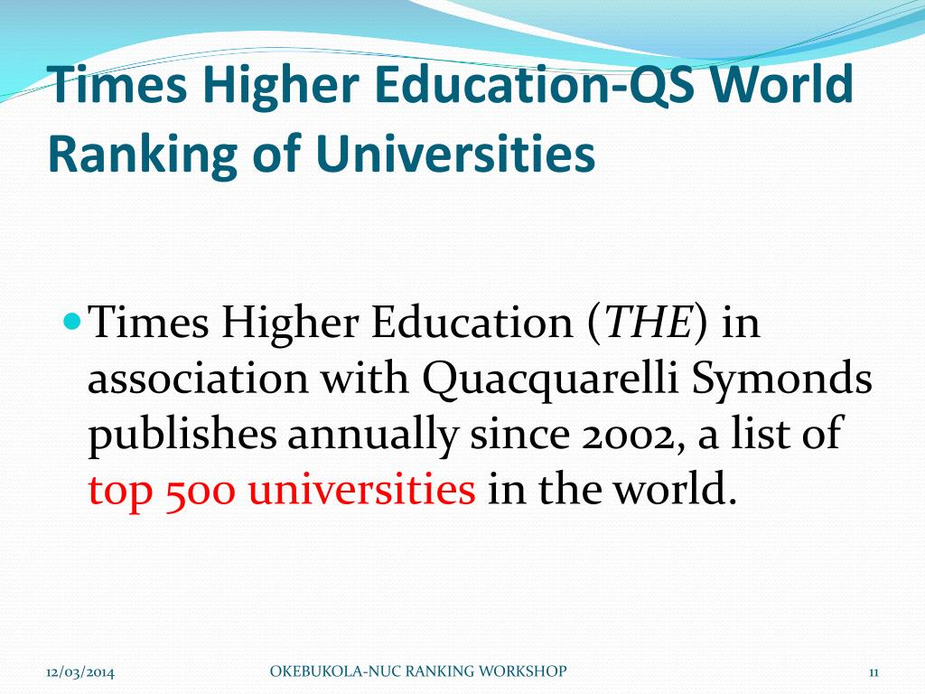 Times Higher Education-QS World Ranking of Universities