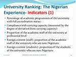 university ranking the nigerian experience indicators 1