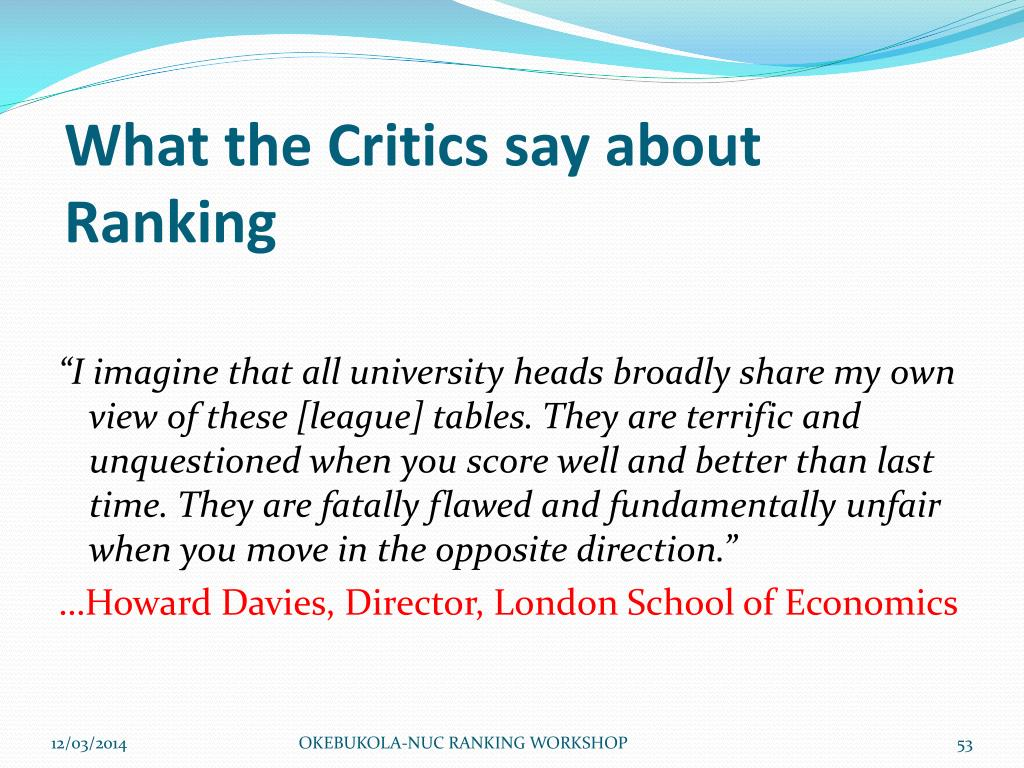 What the Critics say about Ranking