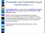 flammable and combustible liquid classifications cont