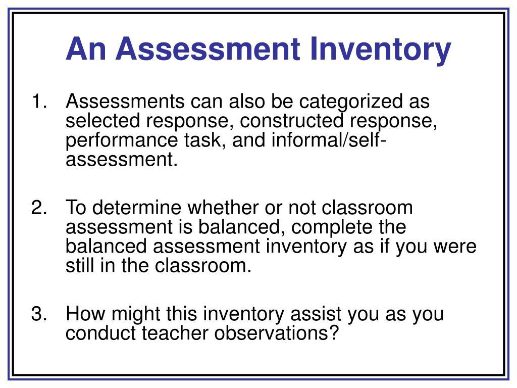 An Assessment Inventory