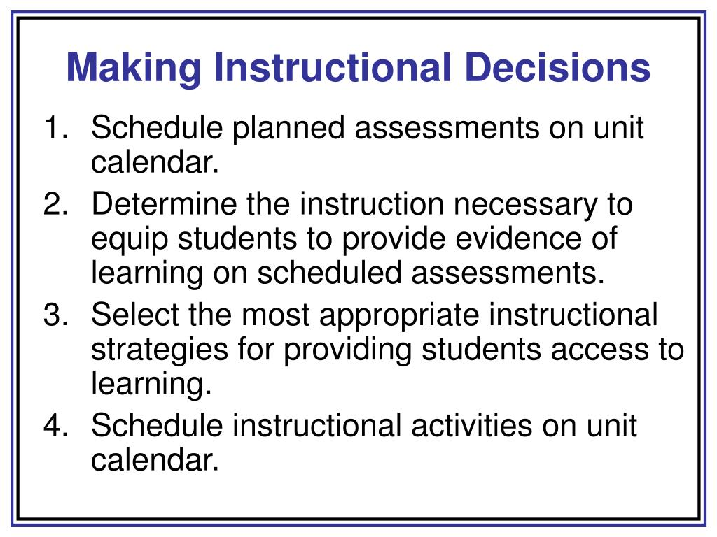 Making Instructional Decisions
