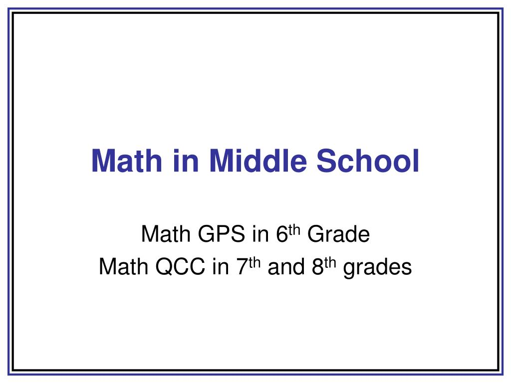 Math in Middle School
