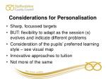 considerations for personalisation