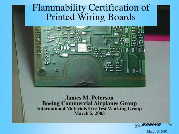 flammability certification of printed wiring boards n.