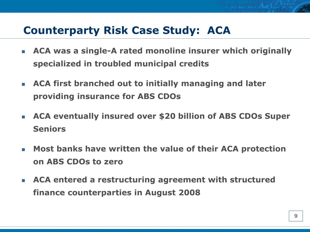 Counterparty Risk Case Study:  ACA