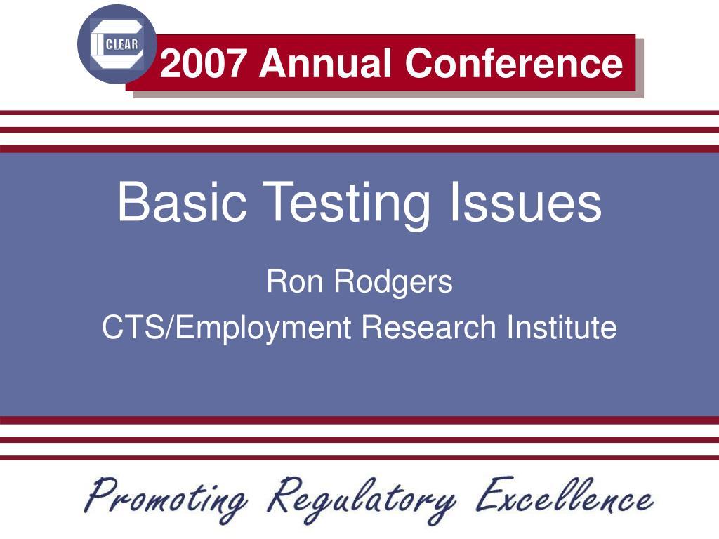 basic testing issues l.