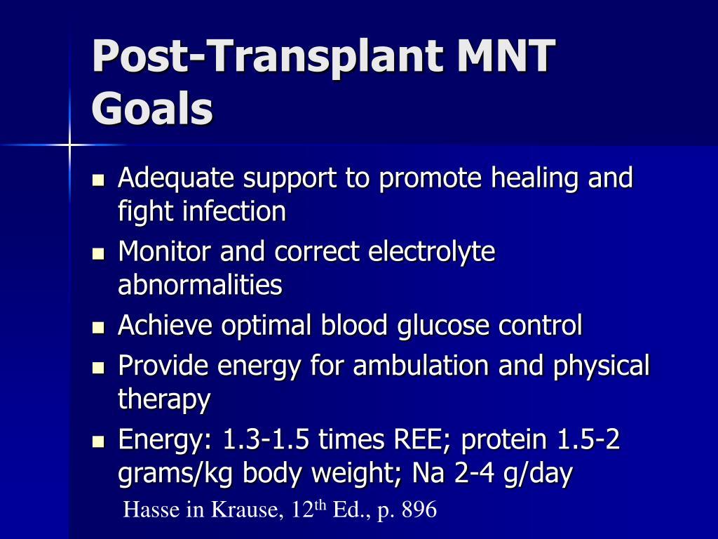 Post-Transplant MNT Goals