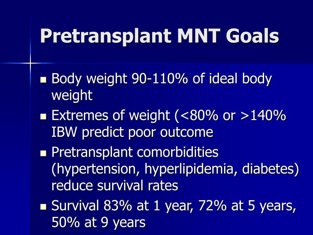 Pretransplant MNT Goals