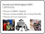 daniels and worthingham mmt limitations