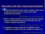 interaction with other rumen microorganisms